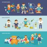 Dzieciaki Bawić się sztandar Zdjęcie Stock