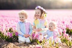 Dzieciaki bawić się w kwiatu polu zdjęcie stock