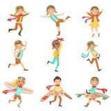 Dzieciaki Bawić się Marzyć Być pilotami Ustawiającymi Fotografia Stock