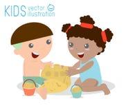Dzieciaki Buduje piaska kasztelu wektorową ilustrację dzieciaki robi piaskowi na morze plaży roszować Zdjęcia Stock