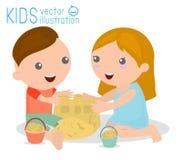 Dzieciaki Buduje piaska kasztelu wektorową ilustrację dzieciaki robi piaskowi na morze plaży roszować Zdjęcie Stock