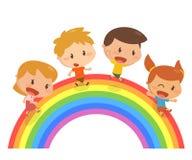 Dzieciaki chodzą na tęczy Obraz Royalty Free