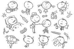 Dzieciaki Czuje Cierpiącego, czarny i biały kontur, royalty ilustracja