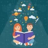Dzieciaki czyta ilustrację ilustracji