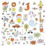 Dzieciaki doodle set - śmieszny rysunek dzieci, zwierzęta, transport, natura również zwrócić corel ilustracji wektora ilustracja wektor