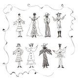 Dzieciaki Doodles, kobiety, tanczący pozować, być szczęśliwymi, graficznymi zasobami, Obraz Royalty Free