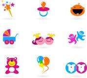 Dzieciaki dziecko logowie i ikony i ilustracja wektor