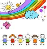 Dzieciaki grupa i tęcza ilustracja wektor