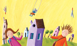 Dzieciaki iść szkoła ilustracji