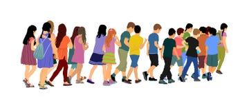 Dzieciaki iść szkoła wpólnie, wektorowa ilustracja tylna szkoły szczęśliwe chłopiec i dziewczyny ilustracja wektor