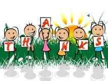 Dzieciaki I Dziękczynny Dziękują przedstawienie młodości Gratefulness Fotografia Royalty Free