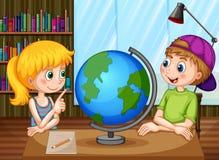 Dzieciaki i kula ziemska ilustracji