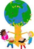 Dzieciaki i kuli ziemskiej drzewo ilustracja wektor