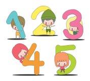 Dzieciaki i liczba set Zdjęcia Royalty Free