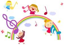 Dzieciaki i muzyka royalty ilustracja