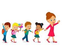 Dzieciaki i nauczyciel iść szkoła Obrazy Stock