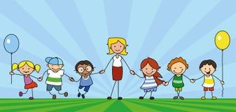 Dzieciaki i nauczyciel na łąkowych mienie rękach, pedagog z preeschool dziećmi ilustracji