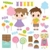 Dzieciaki i Słodcy cukierki ilustracja wektor