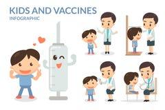 Dzieciaki i szczepionki szczepienie Obrazy Royalty Free