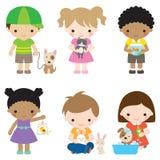 Dzieciaki i zwierzęta domowe ilustracja wektor