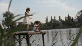 Dzieciaki karmi kaczki na molu zbiory wideo