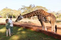Dzieciaki karmi żyrafy w Afryka Fotografia Royalty Free