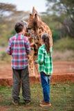Dzieciaki karmi żyrafy w Afryka Obrazy Stock