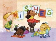 dzieciaki maluje życzenia. ilustracji
