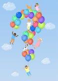 Dzieciaki na znaki zapytania kształtujących balonach Fotografia Royalty Free