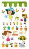 Dzieciaki nawadnia rośliny Obraz Royalty Free