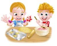 Dzieciaki Piec torty i ciastka Zdjęcia Stock