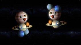 Dzieciaki planety bawić się w przestrzeni, abstrakcjonistyczny galaxy ilustracji