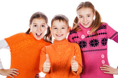 Dzieciaki pokazuje ok znaka Fotografia Stock