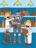 dzieciaki robią robotowi Zdjęcia Royalty Free