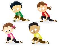 Dzieciaki robi nóg rozciągliwość ilustracji