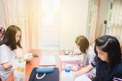 Dzieciaki robi pracie domowej wpólnie Fotografia Stock