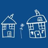 Dzieciaki rysuje domy i rośliny w doodle projektują ilustracji