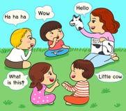 Dzieciaki słucha relacja na trawa wektoru ilustraci ilustracja wektor