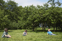 Dzieciaki Siedzi Na trawie Blisko sadu zdjęcia royalty free