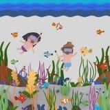 Dzieciaki snorkeling pod wodą royalty ilustracja