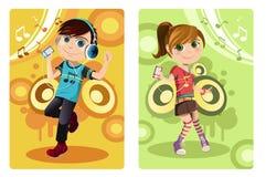 dzieciaki target3243_1_ muzykę Obraz Royalty Free