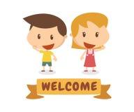 Dzieciaki w akci Powitanie Zdjęcia Royalty Free