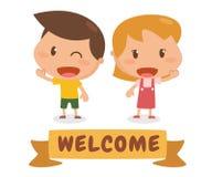 Dzieciaki w akci Powitanie Obraz Royalty Free