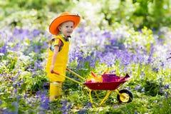 Dzieciaki w bluebell ogródzie obraz royalty free