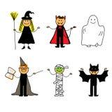 Dzieciaki w Halloween odziewają Obraz Royalty Free