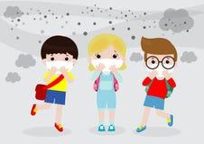 Dzieciaki w maskach przez ?wietnego py?u, ch?opiec i dziewczyny jest ubranym mask? przeciw smogowi, ?wietny py?, zanieczyszczenie ilustracji