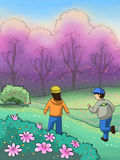 Dzieciaki w pięknym wiosna parku royalty ilustracja