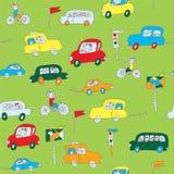 Dzieciaki w samochodowym bezszwowym wzorze Obrazy Stock