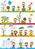 Dzieciaki w sezonie cztery Obraz Royalty Free