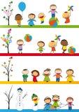 Dzieciaki w sezonie cztery Fotografia Royalty Free